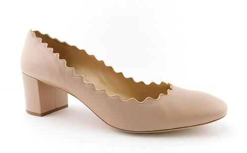 CHLOE Nude Scalloped Leather Block Heel Pumps 41.5