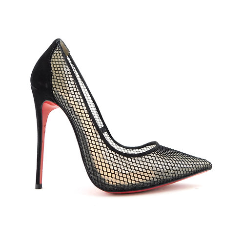 CHRISTIAN LOUBOUTIN Size 6.5 FOLLIES RESILLE Fishnet Black Heels Shoes 36.5 Eur