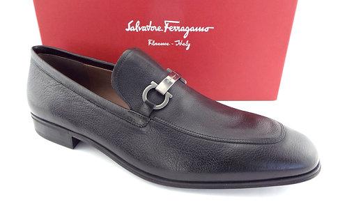 FERRAGAMO Black Gancini Logo Loafers 12E