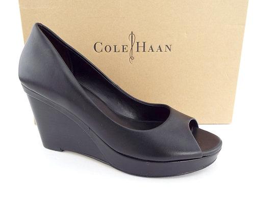 COLE HAAN Black Leather Open Toe Wedge Heels 9