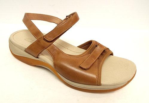CLARKS Springer Beige Leather Ankle Strap Sandal