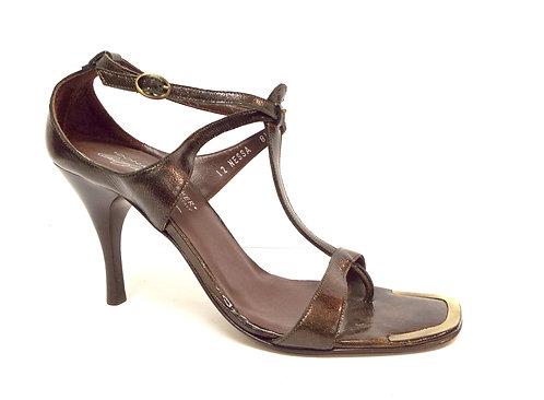 DONALD PLINER NESSA Bronze Patent T-Strap Sandal 8.5