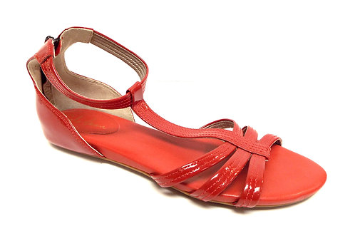 COLE HAAN Red Patent Ankle Strap Back Zip Sandal 9.5