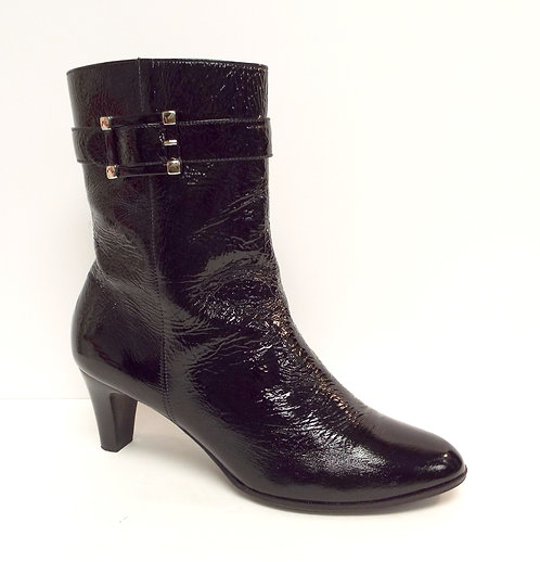 TALBOTS Black Crushed Patent Ankle Boot