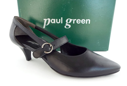 PAUL GREEN Black Leather Mary Jane Pumps