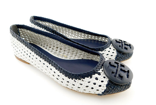 TORY Burch Navy White Woven Leather Logo Flats 9