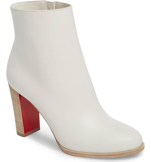 CHRISTIAN LOUBOUTIN White Block Heel Bootie 37
