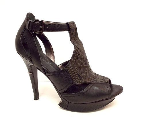 SAM EDELMAN NEVYN Black Leather Sandal