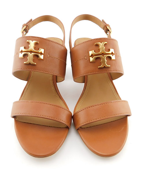 TORY BURCH Everly Logo Tan Block Heel Sandals 9.5