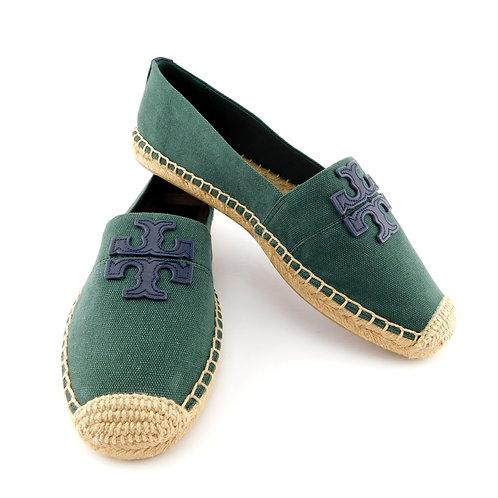 TORY BURCH Size 9 WESTON Green Canvas Logo Espadrilles Flats Shoes