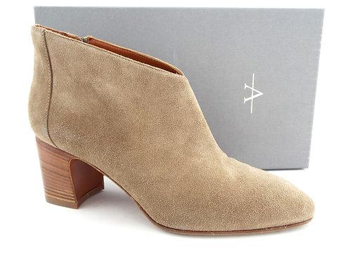 AQUATALIA Beige Suede Block Heel Ankle Boots 9