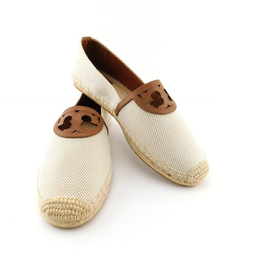 "TORY BURCH Size 9.5 ""Sidney"" Natural Canvas Logo Espadrilles Flats Shoes"
