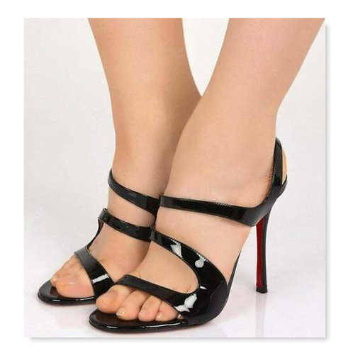 CHRISTIAN LOUBOUTIN Black Vavazou Strap Sandal 36.5