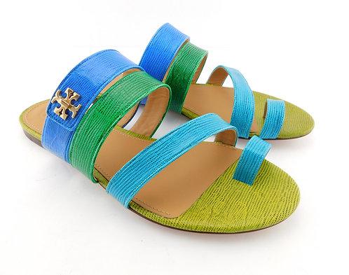 TORY BURCH Logo Color Block Toe Ring Sandal 10