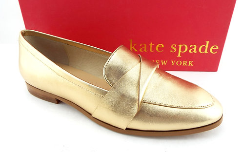 KATE SPADE Gold Metallic Leather Loafer Flats 7