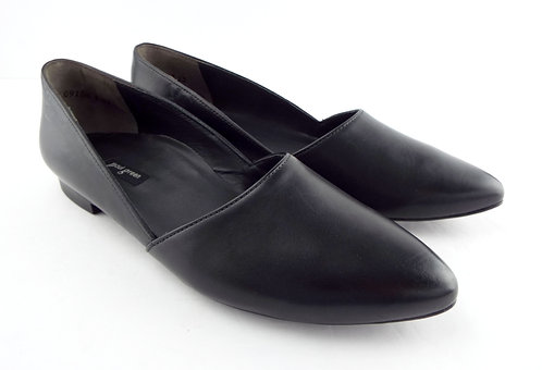 PAUL GREEN Black Leather D'Orsay Flats