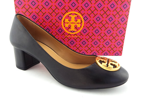 TORY BURCH Logo Black Block Heel Pumps 7