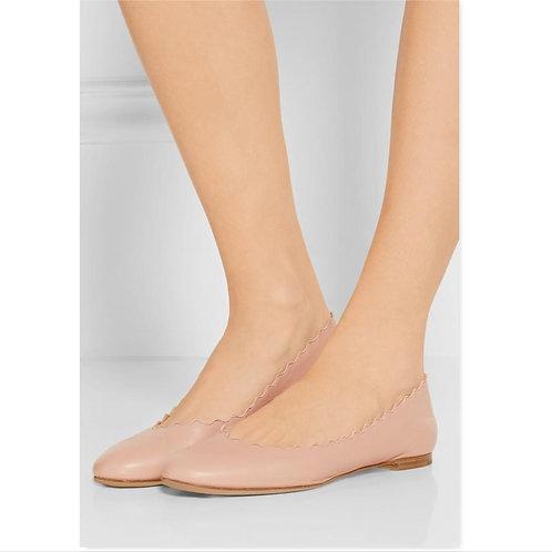 CHLOE Size Nude Scalloped Ballet Flats 36.5