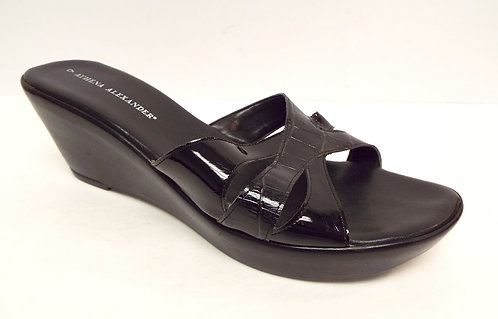 ATHENA ALEXANDER Black Alligator Print Wedge Slide