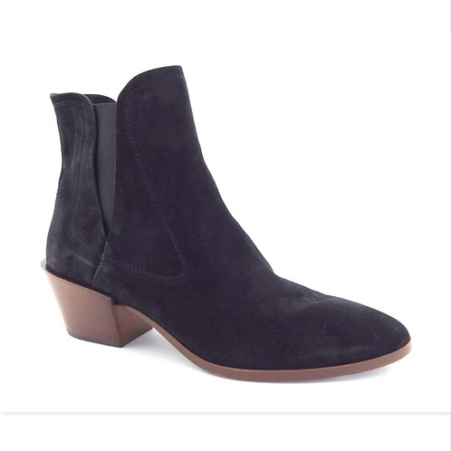 TOD's Black Suede Block Heel Booties 39