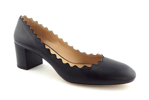 CHLOE Scalloped Black Leather Block Heel Pump 38.5