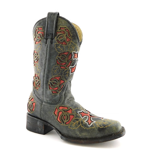 CORRAL Black Distressed Cross Floral Western Boots 6.5