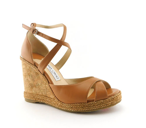 JIMMY CHOO Tan Alanah Espadrille Wedge Sandal 39.5