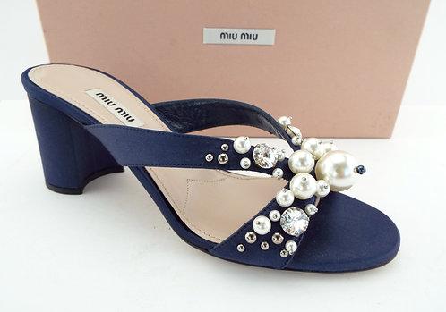 Miu Miu Royal Blue Crystal/Pearl Block Heel 37
