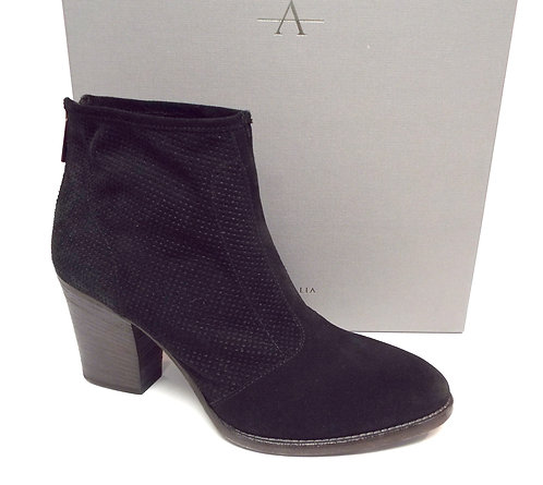 AQUATALIA FIA Black Perforated Suede Ankle Boot 10