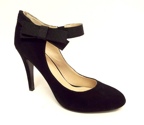 NINE WEST 'Shweeto' Black Suede Bow Pump