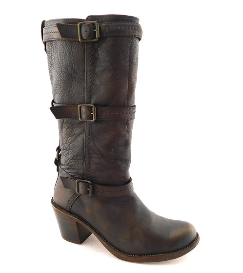 FRYE Brown Leather Triple Strap Block Heel Boots 9