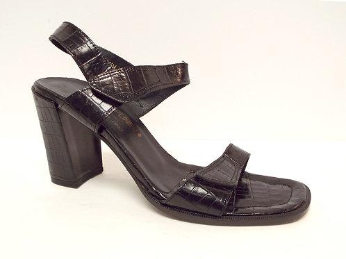 DONALD PLINER Black Alligator Print Ankle Sandal