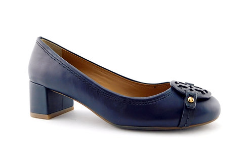 TORY BURCH Mini Miller Logo Blue Block Heel Pump 6