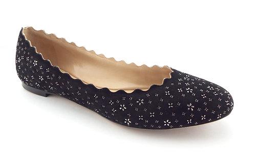 Chloé Black Floral Scallop Suede Ballet Flats 37.5