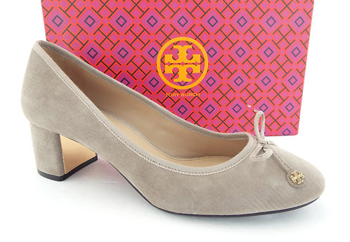TORY BURCH Logo Bow Grey Suede Block Heels 9