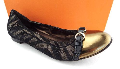 AGL Zebra Black Gold Leather Ballet Flat 38