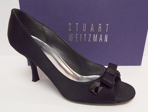 STUART WEITZMAN Black Satin Open Toe Pumps