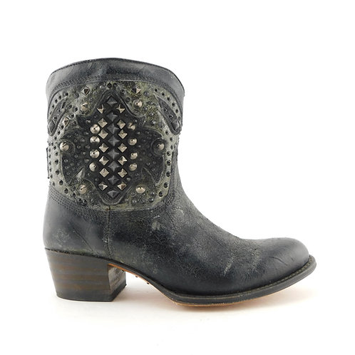 FRYE Size 6 DEBORAH DECO Black Distressed Pewter Western Ankle Boots Shoes
