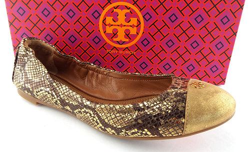 TORY BURCH Gold Cap Toe Roccia Print Ballet Flats 7