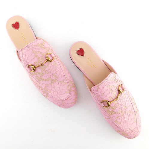 New GUCCI Size 9 PRINCETOWN Pink Lace Mules Flats Shoes 40 Eur