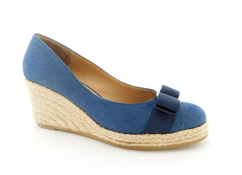 FERRAGAMO Darly Logo Bow Blue Espadrille Wedge Heel 6.5