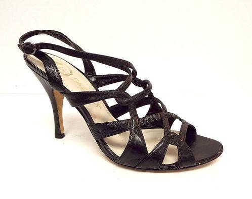 DELMAN Black Leather Strappy Slingback Sandal 8