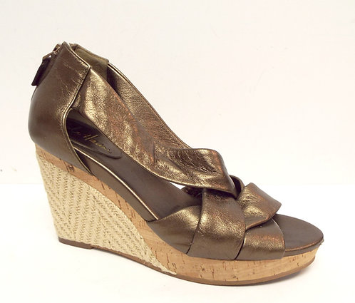 COLE HAAN Bronze DELFINA Espadrille Wedge Sandal 7.5
