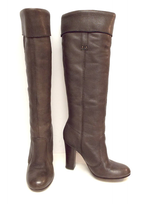 MISS SIXTY Taupe Leather Knee High Cuff Boot