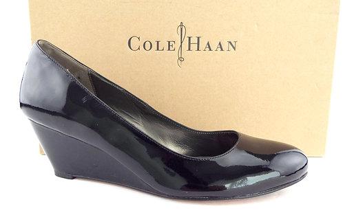 COLE HAAN Nike Air Black Patent Leather Wedge Heels 8