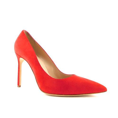 MANOLO BLAHNIK Size 9 BB Red Suede 105mm Heels Pumps Shoes 39.5 EUR