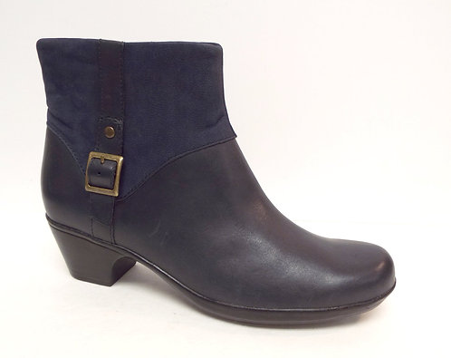 CLARKS Navy Blue Leather Ankle Boots