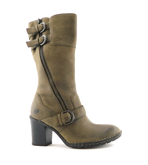 BORN Taupe Leather Block Heel Buckle Zip Boots 6.5