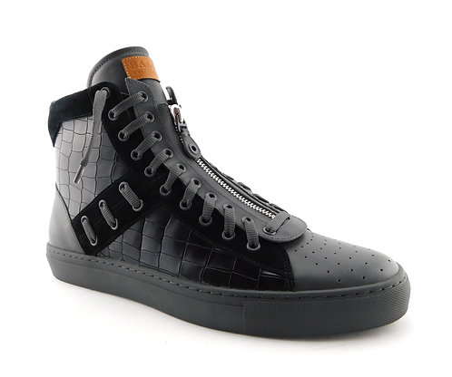 BALLY Logo Black Croc Hi Top Sneakers 13.5