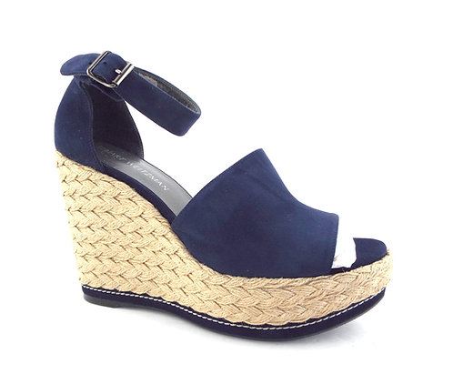 STUART WEITZMAN Navy Espadrille Wedge Sandals